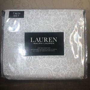 Ralph Lauren floral gray cottage twin sheet set